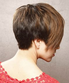 Short Straight Casual Hairstyle Medium Brunette Chestnut Side View 2 Modern