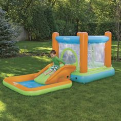 Airprotech Inflatable Bounce House, Pool, and Slide: These rugged inflatables are made of thicker, higher-grade PVC than the industry standard, so theyre built to last, and you can use them indoors as well as outside. Buy the Bounce House, Pool, or Slide separately, or buy the set and save 20%. The Bounce House features super convenient technology: it self-inflates in minutes, but unlike constant air equipment, then unplugs, so its quiet and energy efficient...