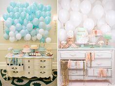 comodas decoradas para festas infantis em tons pastel.