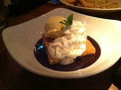 Moxies' famous White Chocolate Brownie dessert