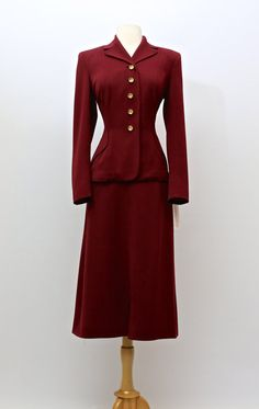 Vintage 1940s Ladies Red Gabardine Suit  Vintage by xtabayvintage