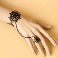 Anillo de la pulsera gótica, Encaje, Perlas de plástico ABS & aleación de zinc, 6cm , Flor, chapado en color dorado, estilo gótico & esmalte & con diamantes de imitación, Blanco, 35mm, tamaño de anillo:6.5, Vendido para aproximado 5.5 Inch Sarta - beads.us