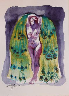 "Original watercolor artwork ""The Peacock"" on Etsy"