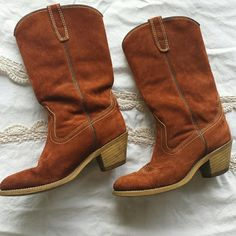 $10 must bundle though Very cool suede cowgirl boots in good vintage condition.  Size 6.5. Suede is close to perfect. Wood heel has some spots but nothing you wouldn't  expect.   Inside is stamped  6 1/2, M807,  Fibre insole, 8032 119, 1974 H.      Vintage Wolverine 1974 X-tra Cool Cowboy Boots Wolverine  Shoes Heeled Boots