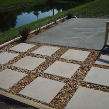 Concrete slab with smaller squares give more interest