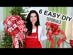 In today's video I am so excited to share with you 6 DIY Dollar Tree Christmas decor crafts! Christmas Tree Bows, Dollar Tree Christmas, Christmas Tree Toppers, Simple Christmas, Christmas Crafts, White Christmas, Christmas Decorations, Xmas, Diy Tree Topper