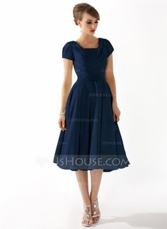A-Line/Princess Square Neckline Knee-Length Ruffle Beading Zipper Up Sleeves Short Sleeves No Sage Spring Summer General Plus Chiffon Mother of the Bride Dress
