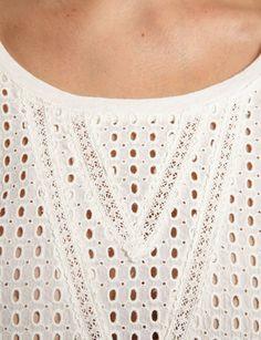 T-shirt coupe droite<br/>Col arrondi<br/>Manches 3/4<br/>Dentelle motif géométrique<br/>Coloris uniCRLF Nom : 161-TOI.P