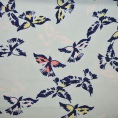 Bird Print Viscose - Mint • Shop • Remnant Kings