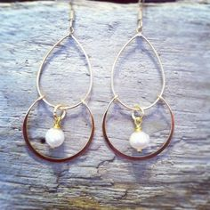 Gold Pearl Chandelier Earrings by MariahBennett on Etsy, $22.00
