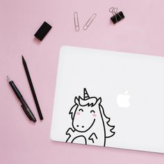 Mini Lola the Unicorn Laptop decal / Vinyl Sticker / Tile Decal / Wall Decal / Office decor