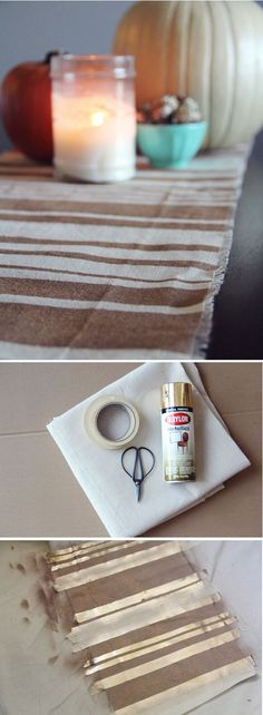 DIY - No Sew Table Runner by Chelsea of of Lovely Indeed for Poppytalk - drop cloth, painter's tape, spray paint http://lovelyindeed.com/