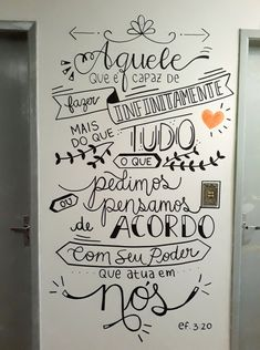Wall drawing ideas inspiration home decor 35 Ideas for 2019 Lettering Tutorial, Chalk Lettering, Wall Drawing, Posca, Blackboards, Decoration, Chalkboard, Sweet Home, Typography