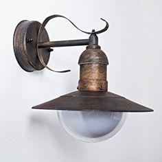 Esterno parete lampada Broni in forma classica, lampada da parete in aspetto rustico, con paralume opaco