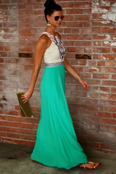 Geometric print top maxi with green skirt. Gold accessories and jewelry. Stitch fix spring summer fashion trends 2016. Get your own stylist for only $20!!