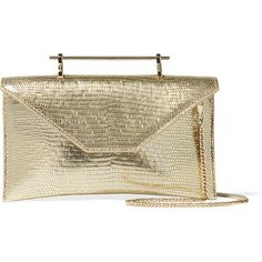 M2Malletier Annabelle metallic lizard-effect leather shoulder bag ($495) ❤ liked on Polyvore featuring bags, handbags, shoulder bags, gold, leather purse, genuine leather shoulder bag, metallic shoulder bag, brown leather handbag and shoulder handbags