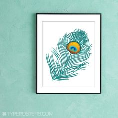 Peacock Feather Art Print Large Format Print by TypePosters, $32.00