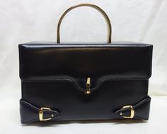 Vintage 60s CAPRICE Black Leather Box Purse with by Vintageables