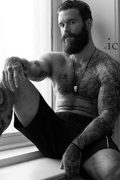 Heavy beards, tattoos, tattoo sleeve, muscle, Hot, sexy, men, muscle, bears, bearded