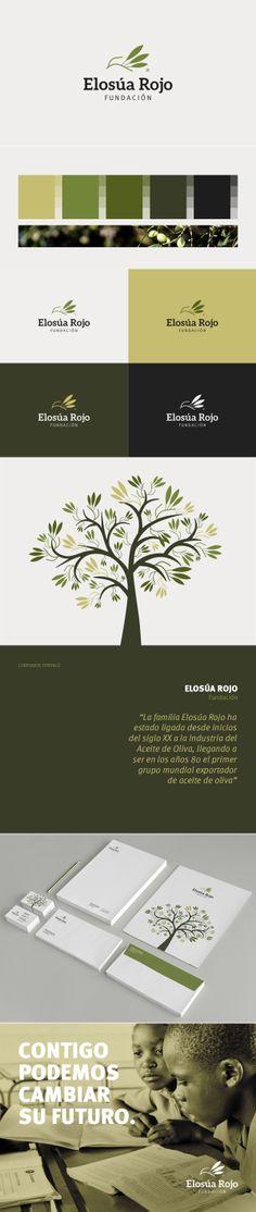 Elosua Rojo Foundation brand ID Best Logo Design, Brand Identity Design, Graphic Design Branding, Corporate Design, Corporate Identity, Brand Design, Visual Identity, Logo Branding, Typography Design
