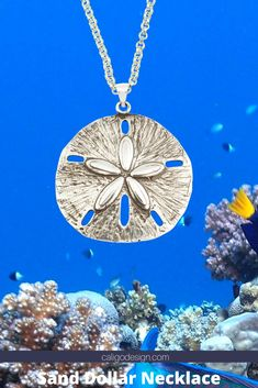 Ocean Sand Dollar Necklace Large - Sand Dollar Jewelry by Caligo Design - Nature Inspired Jewelry -  #sanddollarNecklace #sanddollarJewerlry #sanddollarPendant #seaBiscuitNecklace #clypeasteroidiaJewelry #beachNecklace #beachLoverJewelry #beachSandDollarNecklace #beachFashion #beachMemoryJewelry #beachCombingJewelry  #coralReefJewelry  #oceanNecklace #oceanJewelry #sealifeJewelry  Delete Ocean Jewelry, Nautical Jewelry, Beach Jewelry, Sand Dollar Necklace, Memorial Jewelry, Nature Inspired, Silver Jewelry, Handmade Jewelry, Jewelry Making