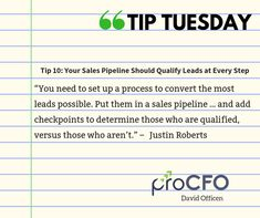 Monitor your pipeline regularly. #TipTuesday from David Officen #tipoftheday #proCFOPerth #DavidOfficen #virtualCFO #BusinessImprovementAdvice #TuesdayPost  #B2B #businesstips  #business