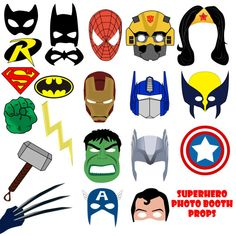 INSTANT DOWNLOAD Superhero Photo Booth Props Masks Birthday Party supply Batman Wonderwoman Spiderman Thor Captain of America Hulk Wolverine