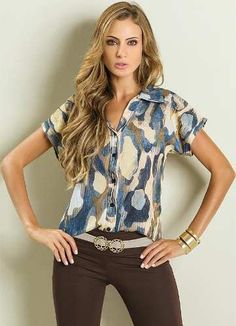 Camisa Feminina Blusa Estampada Colorida - Barato! - R$ 59,90 no MercadoLivre