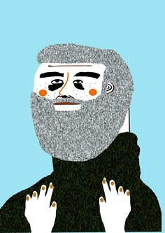 Beard Man Illustration by Ashley Percival. illustration - art - illustrator - poster - hipster - beard - beards - character - design - book - fashion