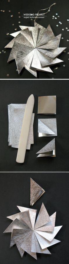 DIY Angled Starburst Ornament   d.Sharp, X-mas, folding, origami, knutselen, kinderen, basisschool, kerstster, vouwen