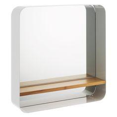 BETHANY White wall-mounted mirror with bamboo shelf | Buy now at Habitat UK [www.habitat.co.uk]