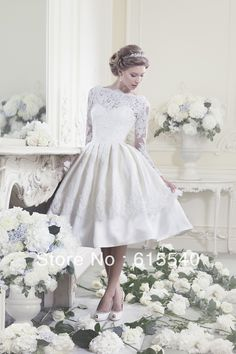 Most Fasion a line scoop tea length white taffeta 3 4 lace sleeve beach lace wedding dresses pleated popular bridal dresses US $138.97