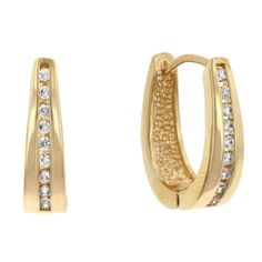 385f95002 Kate Bissett CZ 14k Gold Bonded Small Hoop Earrings with a Channel Set  Round Cut Clear
