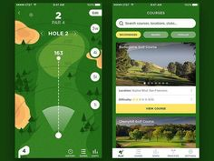 Let us introduce you this very green and golf-oriented app. Choose any course you want and become even better than Tiger Woods! golf clubs are included!) by fireart_studio Game Ui Design, App Design, Mobile Design, Site Portfolio, Golf Cart Parts, Golf Gps Watch, Golf Apps, Golf Pride Grips, Golf Simulators