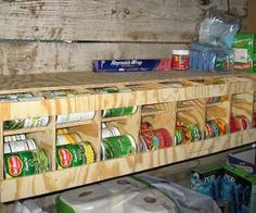 Idea for food storage. Rotates cans so older. Items are used first.  81 Can FIFO - Bulk Can Dispenser / Organizer