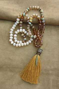 Long knotted boho tassel necklace in Czech beads facetted, rust brown,  cream, aqua green, tibetan prayer necklace, hippie, rosary necklace 9259335b587
