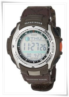 72f1a6147aa Casio Men s PAS410B-5V Pathfinder Moon Phase Hunting Timer Watch Timer  Watch
