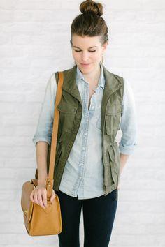 utility vest   chambray
