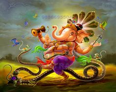 Nattya ( Dancing) Ganesh sorry for water mark its because of art thieves ( they are many fathers son/s who steals others art for&. Shri Ganesh, Durga Puja, Cat Pokemon, Krishna Names, Lord Ganesha Paintings, Puja Room, Indian Gods, Father And Son, Hinduism