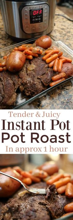 Sunday Dinners just got even better! Get a juicy & flavorful Roast in about an hour! Our Instant Pot Pot Roast & Gravy recipe all in one pot.  Now with Bright Line Eating Friendly (no sugar/no flour) Alteration!