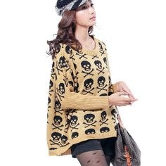 Aliexpress.com : Buy 1286  Fashion Plus Size Loose Skull Embroidery Batwing Dolman Jumper Knitwear Knitted Pullovers For Women 2013 a+  Sweater from Reliable 2013 new women sweaters suppliers on Axon Global Inc.