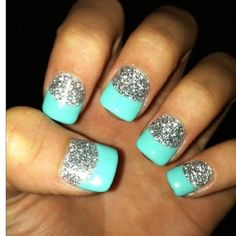 Lovely Ideas Make Manicure 2016 Glitter-Nails. Fancy Nails, Love Nails, How To Do Nails, Pretty Nails, My Nails, Teal Nails, Silver Nails, Nails Turquoise, Teal Acrylic Nails
