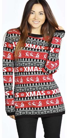 boohoo Cheryl Christmas Reindeers Tunic Jumper - black Go back to nature with your knits this season and add animal motifs to your must-haves. When youre not wrapping up in woodland warmers, nod to chunky Nordic knits and polo neck jumpers in peppered mar http://www.comparestoreprices.co.uk/womens-clothes/boohoo-cheryl-christmas-reindeers-tunic-jumper--black.asp