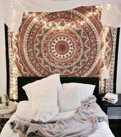 shop Urban Outfitters Tapestries decorative mandala curtains window hanging by jaipurhandloom. we offer dorm room tapestries cotton beach throws on sale price. Bedroom Inspo, Home Bedroom, Girls Bedroom, Bedroom Decor, Bedroom Ideas, Bedroom Curtains, Bedroom Lighting, Urban Bedroom, Fairy Bedroom