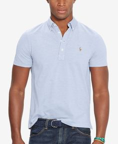 Combining the look of a classic oxford shirt with the ease of Polo Ralph Lauren's polo shirt's cotton mesh, the Hampton is a case study in stylish versatility. The solid-hued style offers natural stre