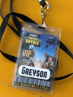 Fortnite party VIP Lanyard battle pass,Fortnite birthday, Battle Royale,VIP pass,Lanyard,fortnite personalized,game pass,gamer party, favor