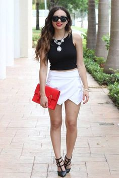 quality is great. Since it was so hot and humid that day, I paired it with a black crop top and a pop of red with this gorgeous bag. Hope you are having an amazing week! XOXO!