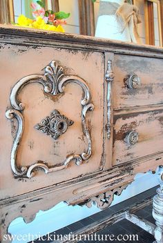 ohhhh I'm in love - especially with the knobs!   antique pink buffet w sweet pickins milk paint, painted furniture