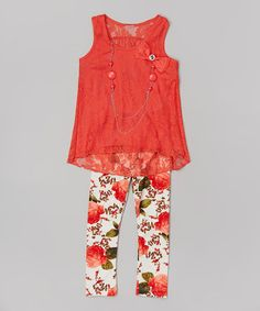 Look what I found on #zulily! Red Lace Floral Tank Set - Toddler & Girls #zulilyfinds