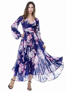 Chiffon Floral Long Sleeve Maxi Vintage Dresses (1013155) @ floryday.com